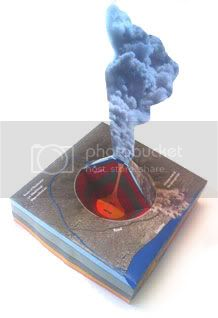 Cut-out 3D volcano model from the British Geological Survey