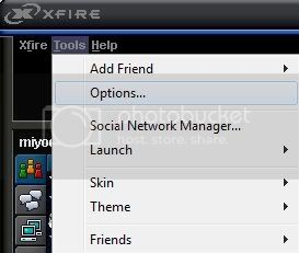 Xfire Options Panel
